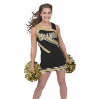 Custom Black Cheerleading Wear High School Cheerleading Uniforms With Crytal