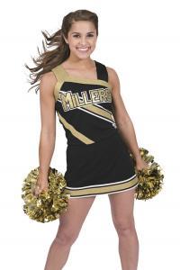 China Custom Black Cheerleading Wear High School Cheerleading Uniforms With Crytal on sale