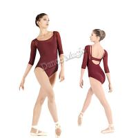China 2014 NEW women's long sleeve ballet leotard with matched solf mesh and featured back gymnastics leotards dance clothing on sale