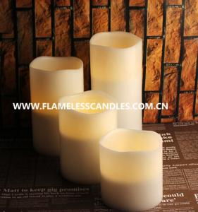 China Paraffin Wax Round White Flameless LED Pillar Candles With Wax In Ivory With Wavy Edge on sale