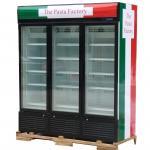 3 вентиляторная система охлаждения замораживателя -25°C дисплея дверей Upright коммерчески с автоматическим размораживает