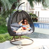 China Hanging Double seat Resin Wicker swing Egg Chair & Stand & Cushion on sale