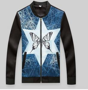 China wholesale oem made 100% polyester butterfly print mens windbreaker jacke and coat on sale
