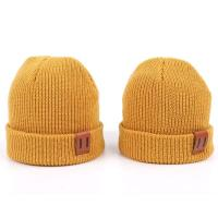 Leather Patch Knit Beanie Hats Custom Design Warm Hat Cap Yellow Beanie Hats