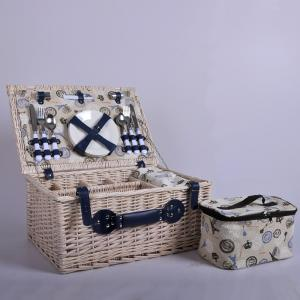 China Factory Fabric Linen Wicker Rattan Food Bread Storage 4 Persons Woven Willow Picnic Hamper Basket Set With Cooler Bag An on sale