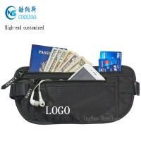 China Mens RFID Hidden Ripstop Nylon Money Belt Travel Black Color on sale