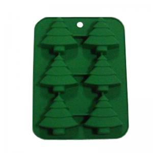 China Christmas tree silicone baking molds ,6 cavity tree shape silicone cake molds on sale