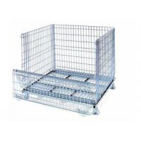 Zinc stacking collapsible wire mesh pallet container with wheels