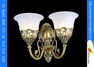 China Bronze Wall Lamp With Two Illuminant , Classic Style With Seedy Glass Cup on sale