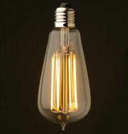 China 2w 200lms e14 dimmable ST64 Led filament lamp cri>80 100lms/w  220v base can gu10 e14 e12 e26 e27 g24 on sale