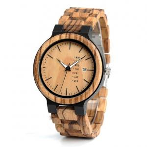 China Laser Engraved Wooden Quartz Watch Customized And Mixed Color Acceptable on sale