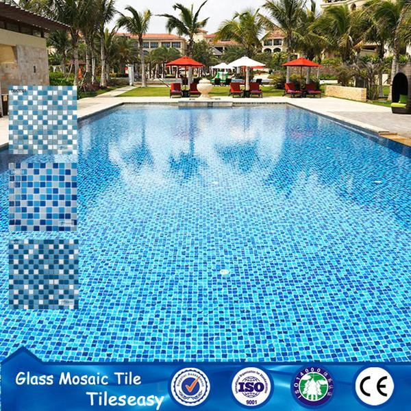 Discount 25x25mm Indoor And Outdoor Glass Small Blue Tiles
