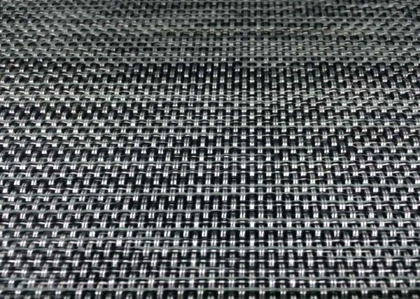 Silver Black 2x2 PVC Coated Mesh Fabric For Outdoor Chair Material