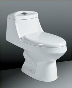 China Floor Mounted Ceramic Toilet Sanitary Ware , Dual Flush One-Piece Elongated Toilet on sale