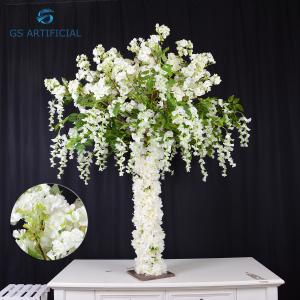 China Anti Corrosion Artificial Cherry Blossom Tree Decor Height 120cm / Width 80cm Solid Wood Trunk on sale