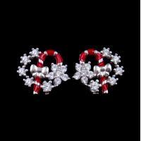 Exquisite Star Charm Earrings Christmas Wreath Enamel Costume Jewellery