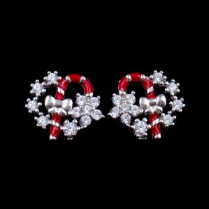 China Exquisite Star Charm Earrings Christmas Wreath Enamel Costume Jewellery supplier