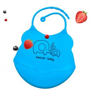 China Adjustable Snaps Portable Easy Clean Crumb Catcher Silicone Feeding Drool bib with Large Pocket for NewBorns Infant Baby Toddler on sale