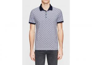 China Four - Button Placket Cotton Polo Shirts For Men Wave Point Pattern on sale
