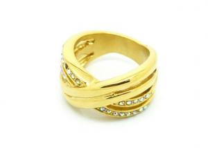 China Gold Plated Clear Crystal Mens Stainless Steel Ring Engraved Indian Braid Style on sale