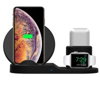 New 7.5W Fast Wireless Charger, Rubber Finish 3 in 1 Charging  Stand Compatible Apple Watch AirPods with LED indicator