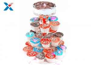 China Round Crystal Acrylic Cupcake Stand , Three Tier Acrylic Wedding Cake Display Stand on sale
