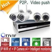 WIFI High Resolution NVR Kits With Four 720P IP Cameras For Mobile Viewing