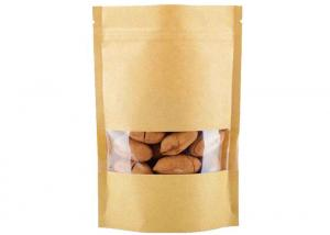 China Dried Food Kraft Paper Zipper Bags , Square Bottom Paper Bag With Clear Window on sale