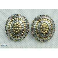 Customed Large Round tin alloy Zirconia Stud Earrings pin for women / lady