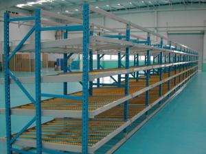 China Small Carton Flow Rack with Cross Beam , Blue / orange shelf racking systems on sale