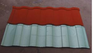 China Decorative roofing material colorful sand coated steel roofing tile/Sand coated metal roofing tile building construction on sale
