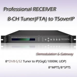 China Eight-Channel Professional Receiver DVB-S2 TO IPTV IP streaming output RFR1108_S2 on sale