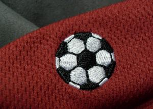 China Tatami Material Clothing Brand Embossed Patch For Soccer Team on sale