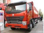 camião basculante resistente HOWO A7 de 380HP 8x4, descarregando camiões basculantes