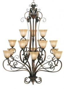 China 3 Layers 15-Light American Style Retro Iron Art Hotel Project Long Stair Lights on sale