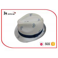 Bicycle Printing White Cotton Trilby Hat Women With Seamless Splicing Ridded Band
