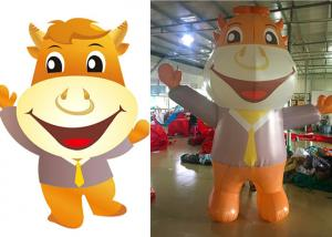 China Cow Cartoon Inflatable Advertising Signs With Reinforced Strips At Joint on sale