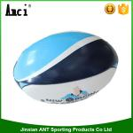 China promotional good quality blue color  PVC 29*18cm 320g with custom print machine stitching size 9 rugby ball