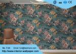 レトロの有利な花パターンが付いている美しい緑の洗濯できるビニールの壁紙