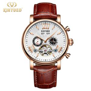 China KINYUED KINYUED new design automatic men watches movement leather luxury relojes mechanical watches men on sale