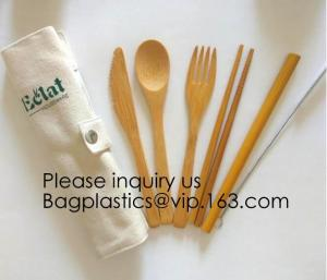 China Eco friendly 5 Pieces Fork Knife Spoon Bamboo Disposable Cutlery Set Reusable Bamboo Cutlery Travel Set Bagease pack on sale