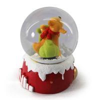 HO HO HO Reindeer Resin Snow Globe With Drum Bell Berries Seasonal Decor