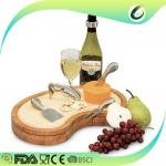 Home Organic Bamboo Cutting Board With Drawer , Bamboo Cheese Set SGS Approved