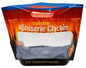 China Rotisserie Chicken Packaging Side Gusset Bags , Quad Sealed Bags on sale