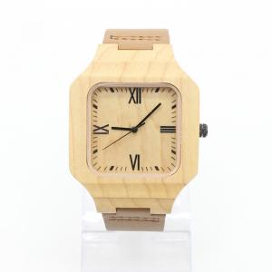 China Men Fashion Minimalist Leather Watch , Luxury Wood Watch Leather Strap on sale