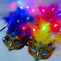 Masquerade Carnival Party Mask Venice LED Light Up Feather Eye Mask