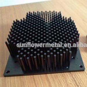China 2018 motherboard heatsink, High grade black anodized 1070 aluminum cold forging pin fin heat sinks on sale