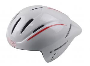 China Red Stripe White Cycling Racing Helmets Ladies Long Tail Washable Antibaterial Pad on sale