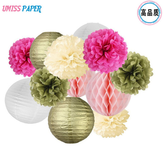 12pcsset hot birthday parties weddings wedding decorationspaper four 20cm 8 inch paper lanterns two gold two white two 20cm 8 inches rose powder honeycomb balls s three 20cm 8 inch paper flower balls gold mightylinksfo