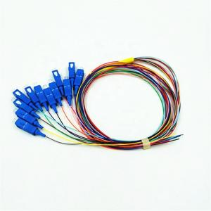 China 0.9mm SC SM Pigtail 8 12 Color Coded , G652D Tight Buffered Fiber Optic Cable on sale